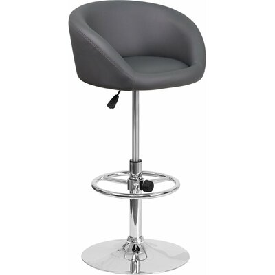 Whelan Round Low Back Adjustable Height Swivel Bar Stool Upholstery: Gray