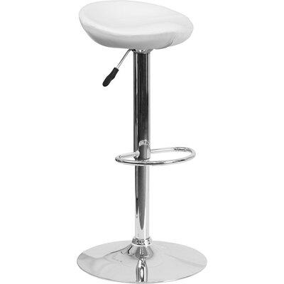 Whelan Backless Adjustable Height Swivel Bar Stool Upholstery: White