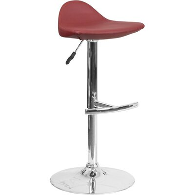 Whelan Low Back Adjustable Height Swivel Bar Stool Upholstery: Burgundy