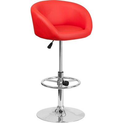 Whelan Round Low Back Adjustable Height Swivel Bar Stool Upholstery: Red