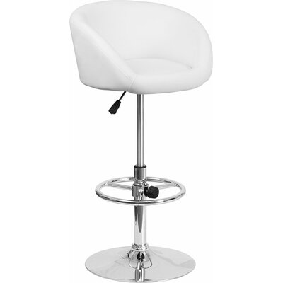 Whelan Round Low Back Adjustable Height Swivel Bar Stool Upholstery: White