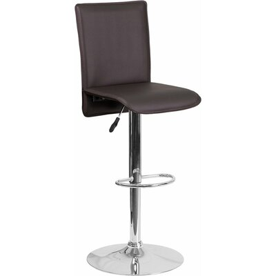 Crotty Mid Back Adjustable Height Swivel Bar Stool Upholstery: Brown