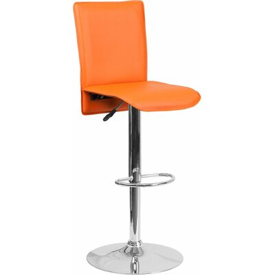 Crotty Mid Back Adjustable Height Swivel Bar Stool Upholstery: Orange