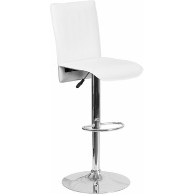Crotty Mid Back Adjustable Height Swivel Bar Stool Upholstery: White