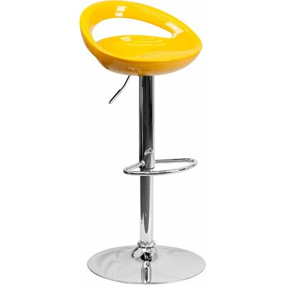 Whelan Rounded Low Back Adjustable Height Swivel Bar Stool Upholstery: Yellow