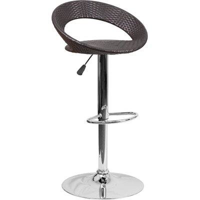 Outen Wicker 4 Rounded Back Adjustable Height Swivel Bar Stool