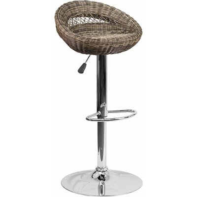 Pervez Wicker 5 Rounded Back Adjustable Height Swivel Bar Stool