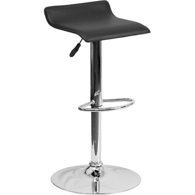 Whelan Low Back Adjustable Height Swivel Bar Stool Upholstery: Black