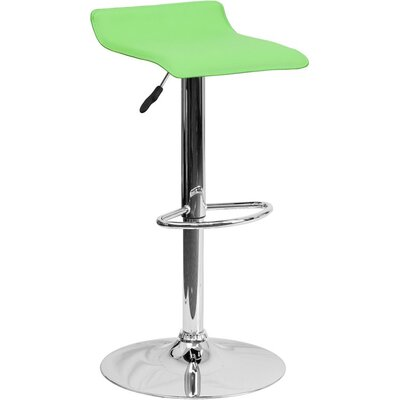 Whelan Low Back Adjustable Height Swivel Bar Stool Upholstery: Green