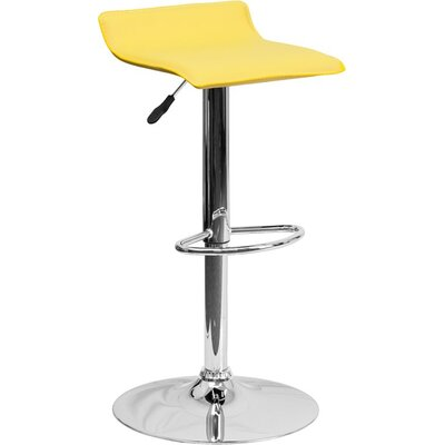 Whelan Low Back Adjustable Height Swivel Bar Stool Upholstery: Yellow