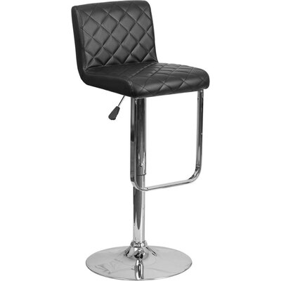 Whelan Mid Back Adjustable Height Swivel Bar Stool Upholstery: Black