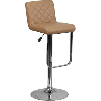 Whelan Mid Back Adjustable Height Swivel Bar Stool Upholstery: Cappuccino