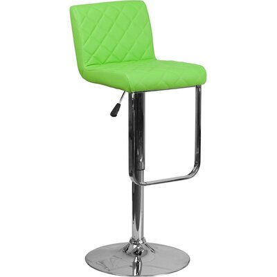 Whelan Mid Back Adjustable Height Swivel Bar Stool Upholstery: Green