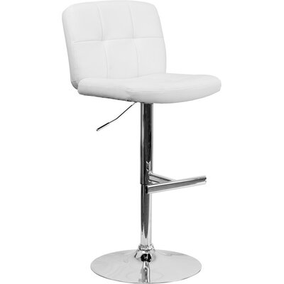 Whelan Mid Back Tufted Adjustable Height Swivel Bar Stool Upholstery: White