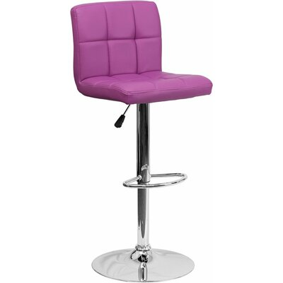 Whelan Mid Back Quilted Adjustable Height Swivel Bar Stool Upholstery: Purple