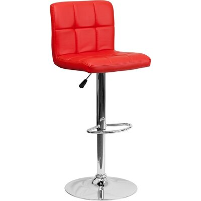 Whelan Mid Back Quilted Adjustable Height Swivel Bar Stool Upholstery: Red