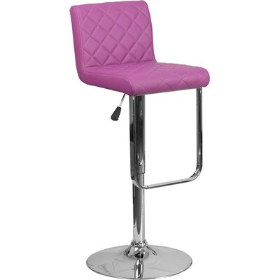 Whelan Mid Back Adjustable Height Swivel Bar Stool Upholstery: Purple