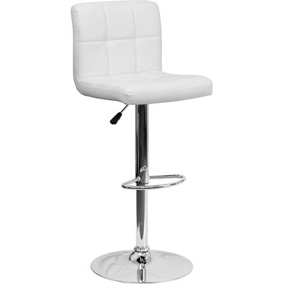 Whelan Mid Back Quilted Adjustable Height Swivel Bar Stool Upholstery: White