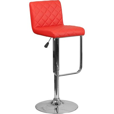 Whelan Mid Back Adjustable Height Swivel Bar Stool Upholstery: Red