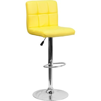 Whelan Mid Back Quilted Adjustable Height Swivel Bar Stool Upholstery: Yellow