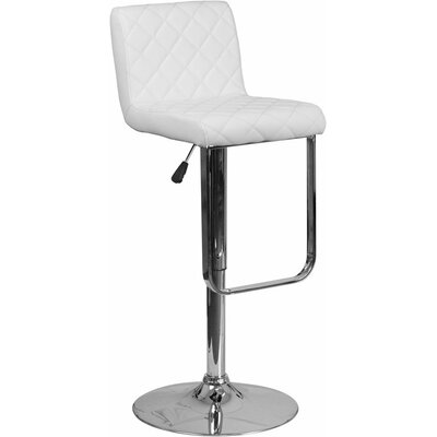 Whelan Mid Back Adjustable Height Swivel Bar Stool Upholstery: White