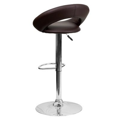 Whelan Round Orbit Adjustable Height Swivel Bar Stool Upholstery: Brown