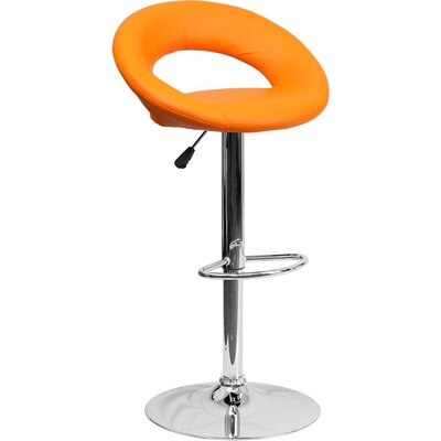 Whelan Round Orbit Adjustable Height Swivel Bar Stool Upholstery: Orange