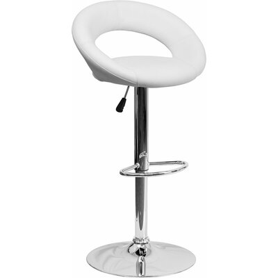 Whelan Round Orbit Adjustable Height Swivel Bar Stool Upholstery: White