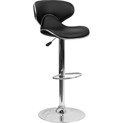 Whelan Mid Back Curved Adjustable Height Swivel Bar Stool Upholstery: Black