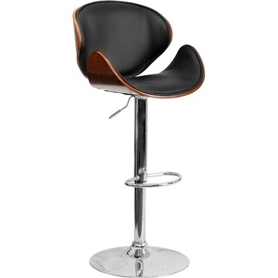 Crotty Adjustable Height Swivel Bar Stool Color: Walnut