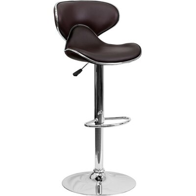 Whelan Mid Back Curved Adjustable Height Swivel Bar Stool Upholstery: Brown