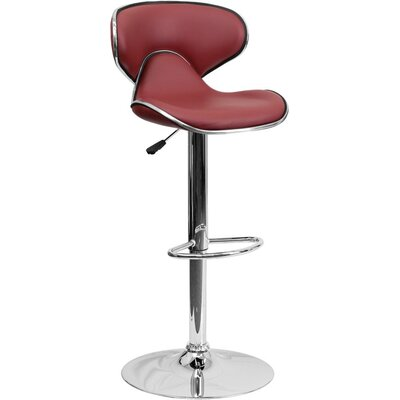 Whelan Mid Back Curved Adjustable Height Swivel Bar Stool Upholstery: Burgundy