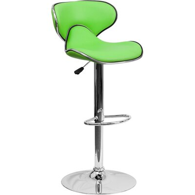 Whelan Mid Back Curved Adjustable Height Swivel Bar Stool Upholstery: Green