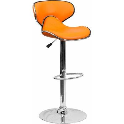 Whelan Mid Back Curved Adjustable Height Swivel Bar Stool Upholstery: Orange
