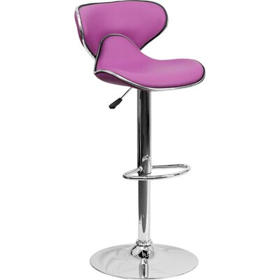 Whelan Mid Back Curved Adjustable Height Swivel Bar Stool Upholstery: Purple