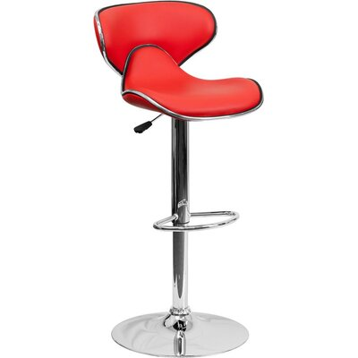 Whelan Mid Back Curved Adjustable Height Swivel Bar Stool Upholstery: Red
