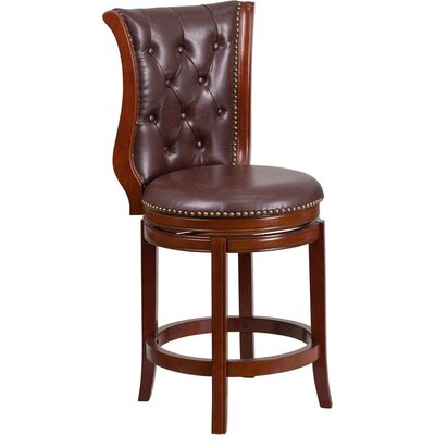 Rouillard 27 Button Tufted Swivel Bar Stool Color: Chestnut