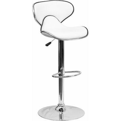 Whelan Mid Back Curved Adjustable Height Swivel Bar Stool Upholstery: White