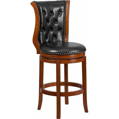 Rouillard 30 Button Tufted Swivel Bar Stool Color: Brandy