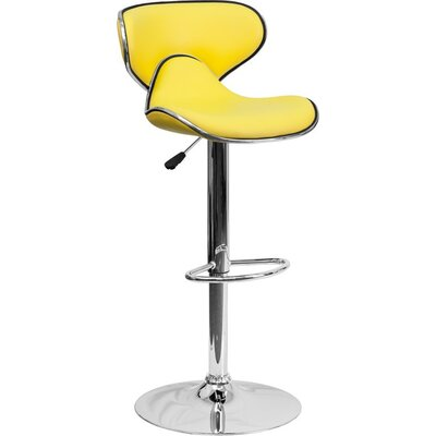 Whelan Mid Back Curved Adjustable Height Swivel Bar Stool Upholstery: Yellow