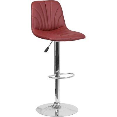 Whelan Luxe Mid Back Adjustable Height Swivel Bar Stool Upholstery: Burgundy