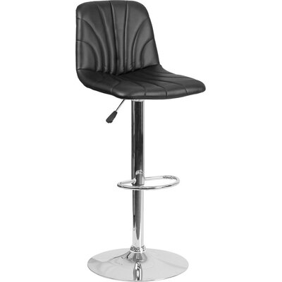 Whelan Luxe Mid Back Adjustable Height Swivel Bar Stool Upholstery: Black