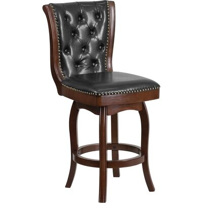 Rouillard 27 Button Tufted Swivel Bar Stool Color: Cappuccino
