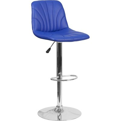 Whelan Luxe Mid Back Adjustable Height Swivel Bar Stool Upholstery: Blue