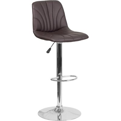 Whelan Luxe Mid Back Adjustable Height Swivel Bar Stool Upholstery: Brown