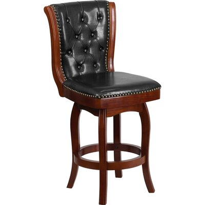 Rouillard 27 Button Tufted Swivel Bar Stool Color: Cherry