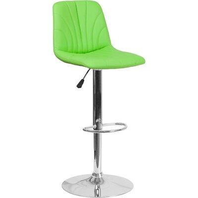 Whelan Luxe Mid Back Adjustable Height Swivel Bar Stool Upholstery: Green