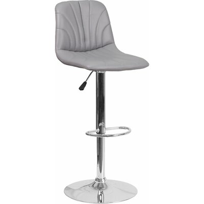 Whelan Luxe Mid Back Adjustable Height Swivel Bar Stool Upholstery: Gray