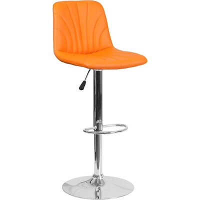 Whelan Luxe Mid Back Adjustable Height Swivel Bar Stool Upholstery: Orange