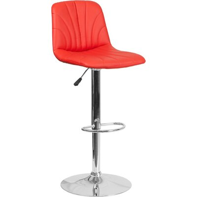 Whelan Luxe Mid Back Adjustable Height Swivel Bar Stool Upholstery: Red